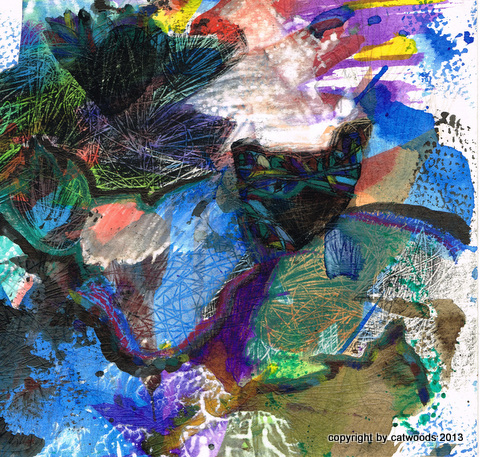 Catlike Image Appears in Landscape, detail, mixed media